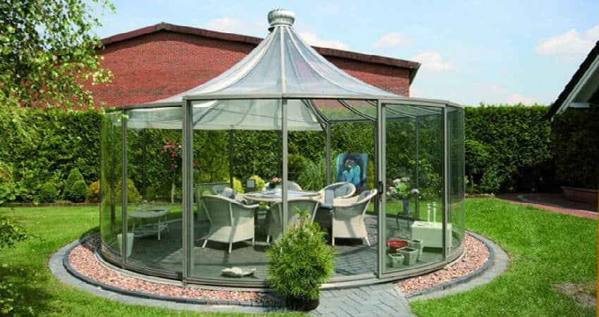 køb den nemme pavillon i glas og stål